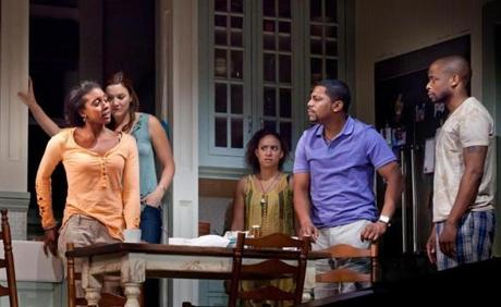 "From left: Condola Rashad, Rosie Benton, Tracie Thoms, Mekhi Phifer, and Dulé Hill in ""Stick Fly."""